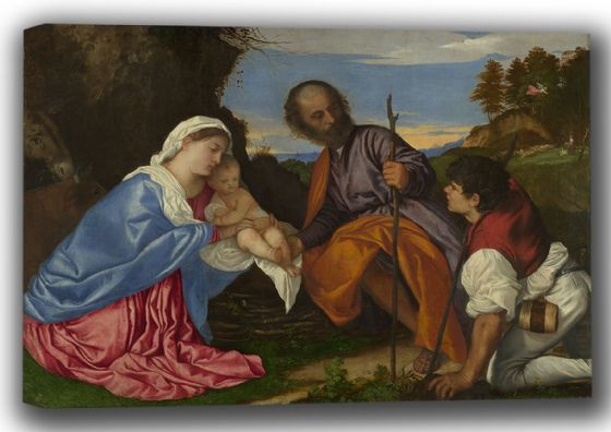 Titian (Tiziano Vecellio): The Holy Family with a Shepherd. Fine Art Canvas. Sizes: A4/A3/A2/A1 (001949)